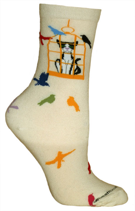 Cat in a Bird Cage Lightweight Crew Socks on Natural