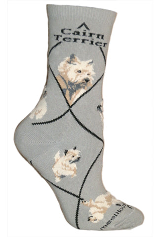 Cairn Terrier Crew Socks on Gray