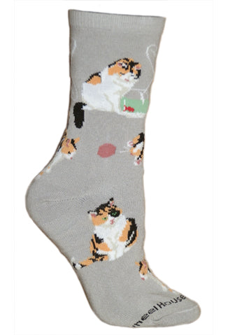 Calico Cat Crew Socks on Gray