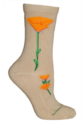 California Poppy Crew Socks on Khaki