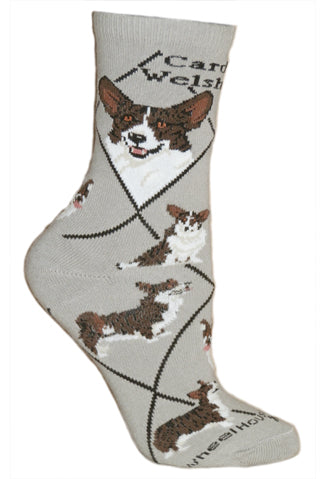 Corgi, Cardigan Welsh Crew Socks on Gray