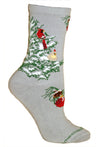 Cardinal in a Snowy Tree on Gray Crew Socks