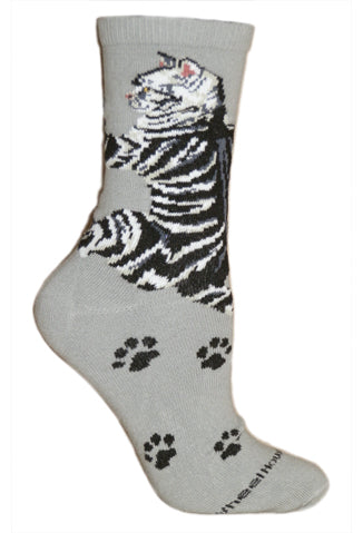Cat Hug Crew Socks on Gray