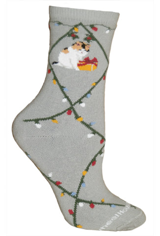 Cat & Lights Crew Socks on Gray