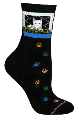 Cat Window Crew Socks on Black
