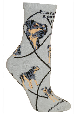 Catahoula Leopard Dog Crew Socks on Gray
