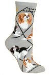 Cavalier King Charles Spaniel Crew Socks on Gray