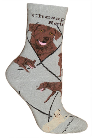 Chesapeake Bay Retriever Crew Socks on Gray