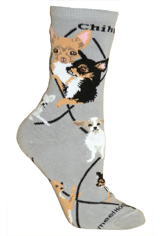 Chihuahua Crew Socks on Gray