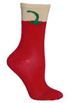 Chili Pepper Crew Socks on Red