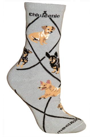 Chiweenie Crew Socks on Gray