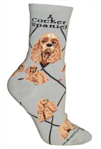 Cocker Spaniels Crew Socks on Gray
