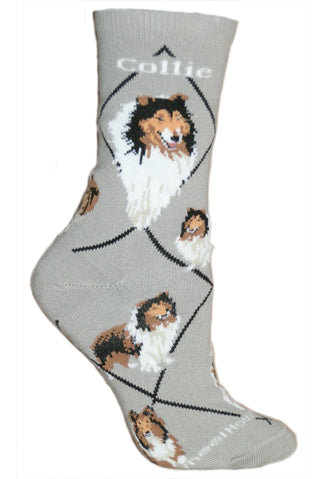 Collie Crew Socks on Gray