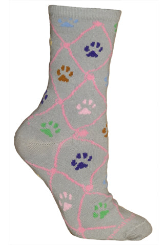 Cat Paws Crew Socks on Gray