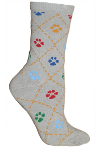 Dog Paws Crew Socks on Gray