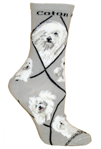 Coton de Tulear Crew Socks on Gray