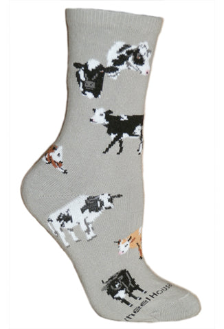 Cows all Over on Gray Crew Socks