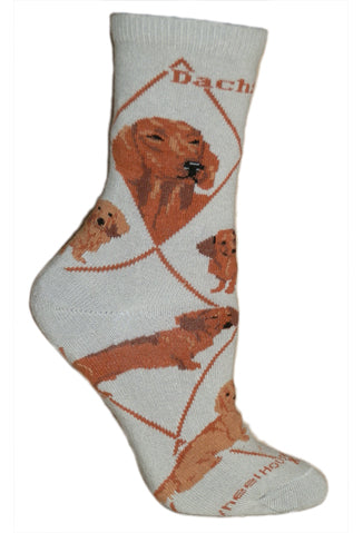 Red Dachshund on Gray Crew Socks
