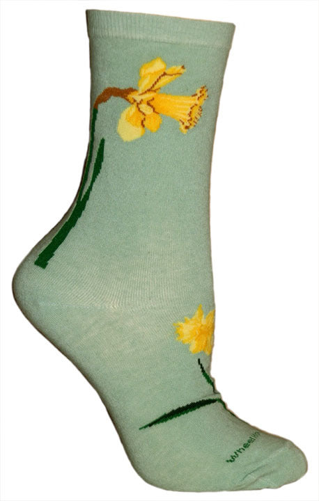 Daffodil Lightweight Crew Socks on Mint Green