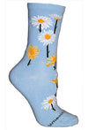 Daisies Crew Socks on Light Blue