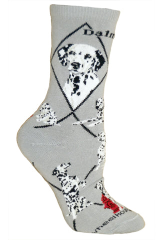 Dalmatian Crew Socks on Gray