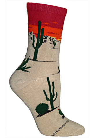 Desert Sunset Crew Socks on Khaki
