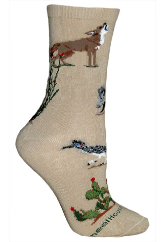 Desert Wildlife Crew Socks on Khaki