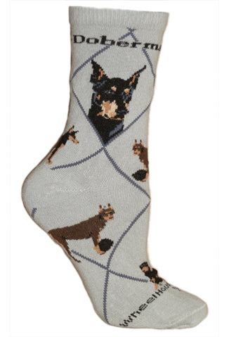 Doberman Pinscher Crew Socks on Gray