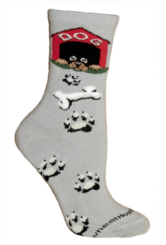Dog House Crew Socks on Gray