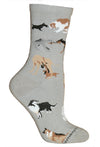 Dogs All Over on Gray Crew Socks