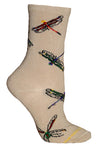 Dragonflies Crew Socks on Khaki