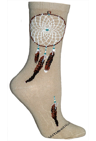 Dream Catcher Crew Socks on Khaki