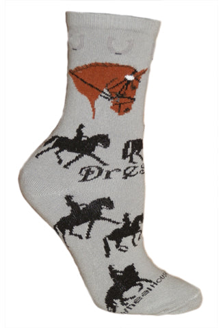 Dressage Crew Socks on Gray