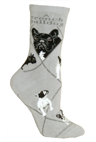 French Bulldog Crew Socks on Gray