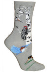 Garden Birds Crew Socks on Gray