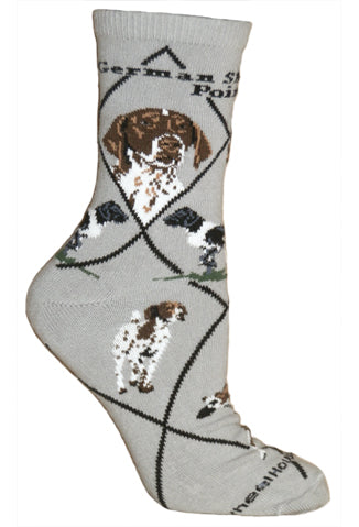 German Shorthaired Pointer Crew Socks on Gray