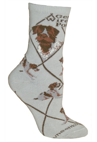 German Wirehaired Pointer Crew Socks on Gray