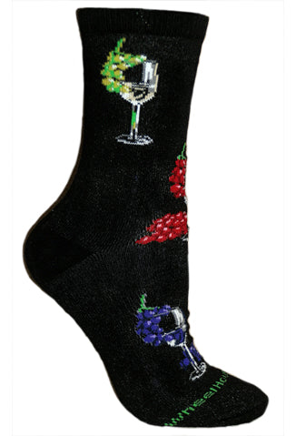 Wine Glasses and Grapes Crew Socks on Black