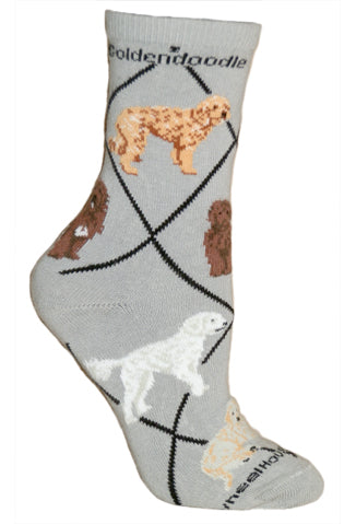 Goldendoodle Crew Socks on Gray