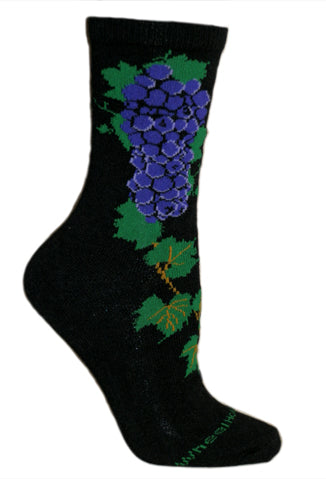 Grape Vine Crew Socks on Black
