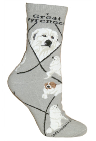 Great Pyrenees Crew Socks on Gray