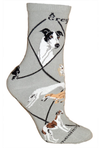 Greyhound Crew Socks on Gray