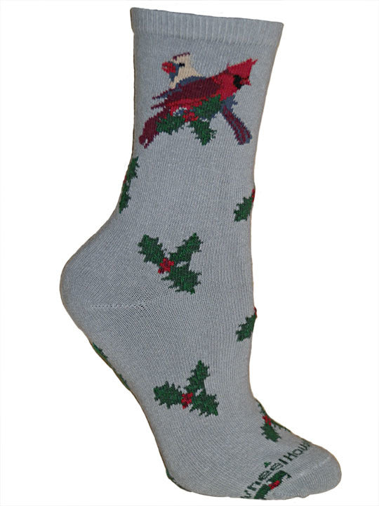 Holiday Cardinal In a Holly Bush Crew Socks on Gray
