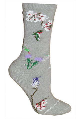 Hummingbirds Crew Socks on Gray