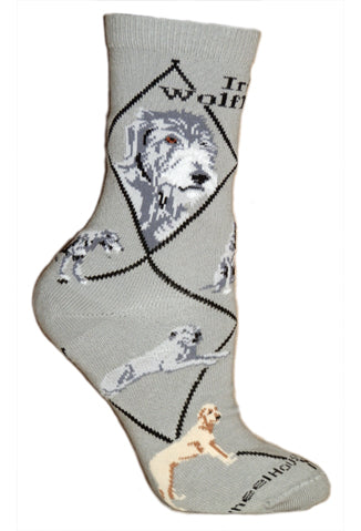 Irish Wolfhound Crew Socks on Gray