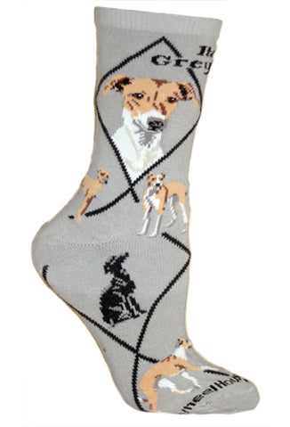 Italian Greyhound Crew Socks on Gray