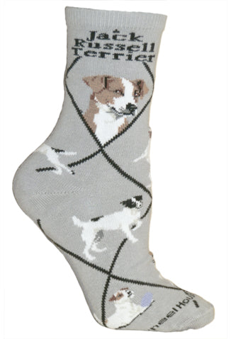 Jack Russell Terrier Crew Socks on Gray