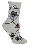 Keeshond Crew Socks on Gray