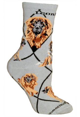 Leonberger Crew Socks on Gray