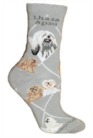 Lhasa Apso Crew Socks on Gray